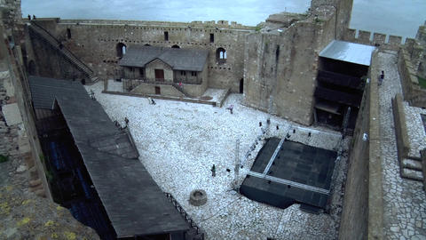 Old Fortress from the Middle Ages, Interior of Fortress Courtyard Footage