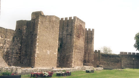 Old Fortress from the Middle Ages, Watchtower and a large wall Footage