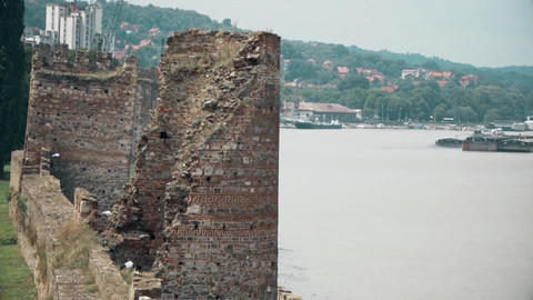 Old Fortress from the Middle Ages, Watchtower and River Danube Footage