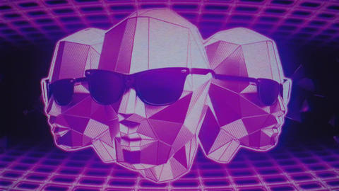 Retro Futuristic Heads VJ Loop Animation