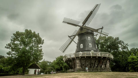 Ancient Windmill in Sweden Time Lapse Footage