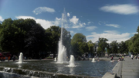 Fountains in Oslo Park Norway Live Action