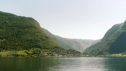 Riverside Town in the Norway Fjords Live Action
