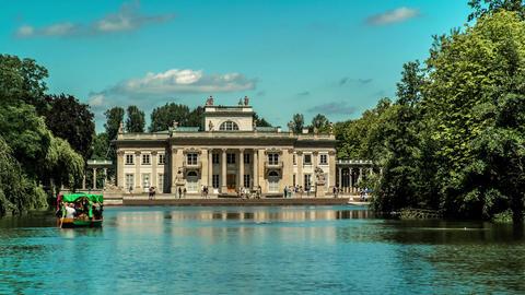 Lazienki Palace in Warsaw Royal Baths Park Time Lapse Live Action