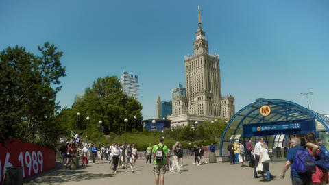 Palace of Culture and Science Warsaw Poland Footage