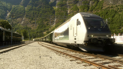Train Arriving at Flam Norway Live Action