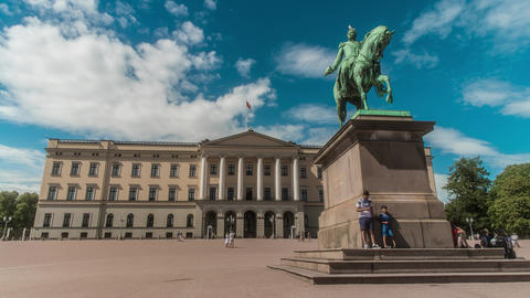 Royal Palace Oslo Norway Time Lapse Live Action