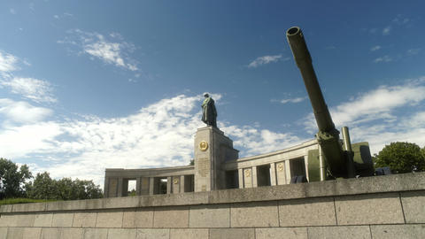 Soviet War Memorial with Tanks in Berlin Germany Footage