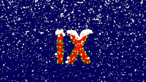 New Year text Roman numerals IX. Snow falls. Christmas mood, looped video. Alpha Animation