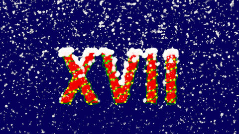 New Year text Roman numerals XVII. Snow falls. Christmas mood, looped video. Animation