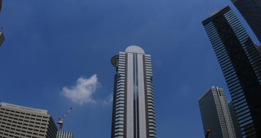 Building in the blue sky at west Shinjuku ビデオ