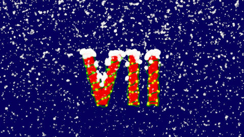 New Year text Roman numerals VII. Snow falls. Christmas mood, looped video. Animation