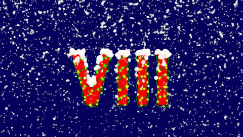 New Year text Roman numerals VIII. Snow falls. Christmas mood, looped video. Animation