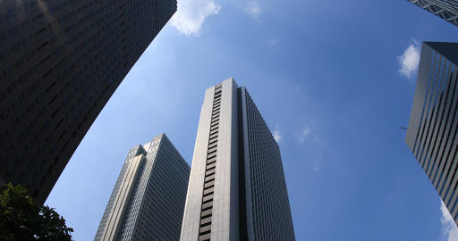 Buildings and blue sky in the business town at west Shinjuku ビデオ