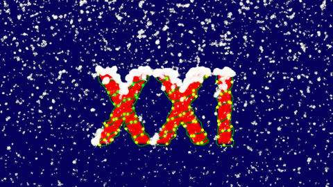 New Year text Roman numerals XXI. Snow falls. Christmas mood, looped video. Animation