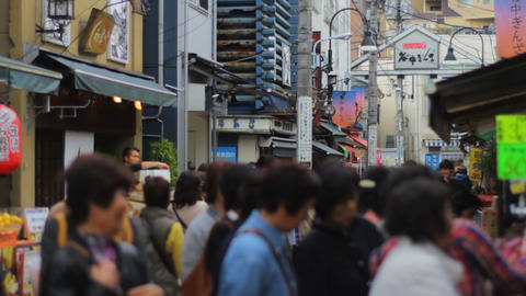 Many people at downtown street in Yanakaginza medium shot shallow focus Live Action