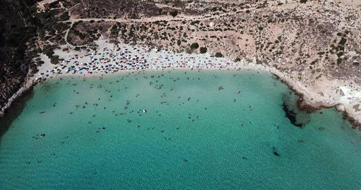 Spiaggia Dei Conigli Beach In Lampedusa Italy With People Swimming Footage