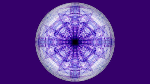 Sphere with purple fractal patterns on dark purple background. Tunnel motion in Footage