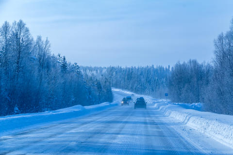Traffic on the Forest Winter Road Photo