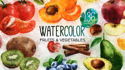 Watercolor Fruits And Vegetables After Effectsテンプレート