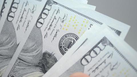 Hands Count Hundred Dollar Bills Footage