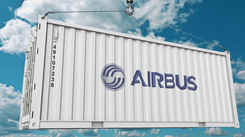 Airbus logo on an industrial container. Editorial animation GIF