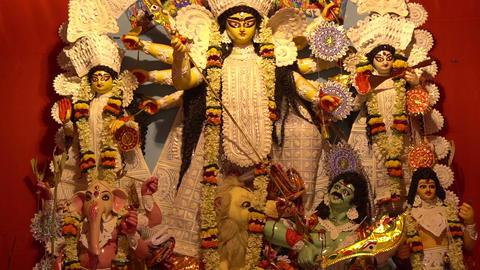 Durga idol at Puja Pandal, Durga Puja festival Footage