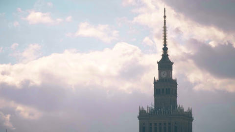 Time lapse of the spire of Palace of Culture and Science, historic high-rise Live Action