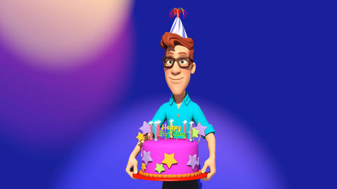 Cartoon Man delivering a Birthday cake GIF