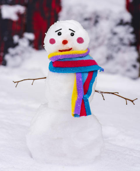 funny snowman with a colorful scarf and a sad face Photo