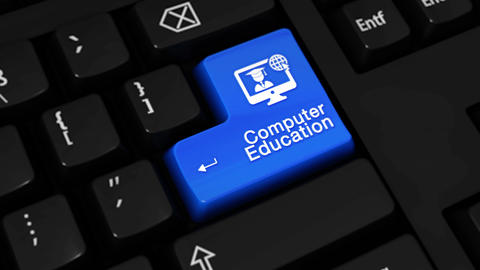 173. Computer Education Rotation Motion On Computer Keyboard Button Live Action