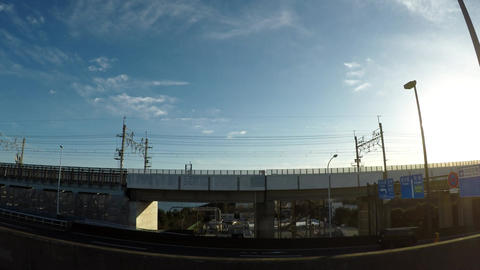 Japanese cityscape. Car window image from the Metropolitan expressway ビデオ
