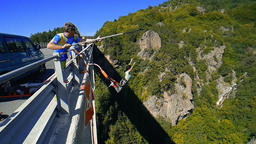 Klisura Bridge, Bulgaria - September 15, 2018: Bungee jumpers 230 feet bridge Footage
