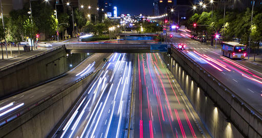 Cinemagraph of night scene of urban traffic.Time Lapse - Trail effect - Long Footage