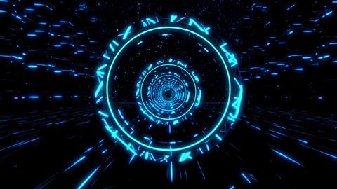 3D Blue Sci-Fi Stargates Tunnel VJ Loop Motion Background GIF