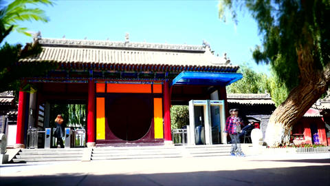 Time lapse shot at the entrance of a Buddhist temple 01 Footage