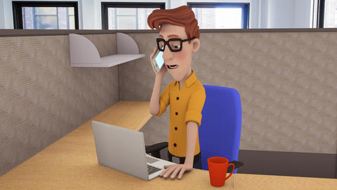 Cartoon Office Worker Animation