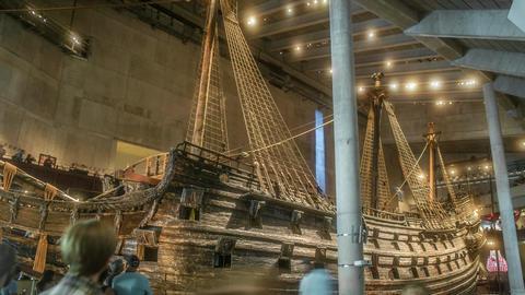 Vasa Museum Large Ship Time Lapse Stock Video Footage