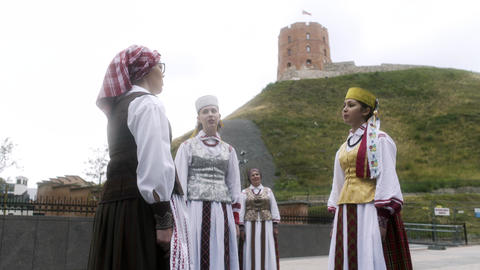 Young Women Sing to Celebrate Lithuanian Independence Day Footage