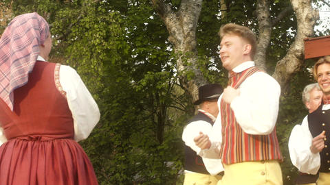A Traditional Swedish Folk Dance Slow Motion Footage