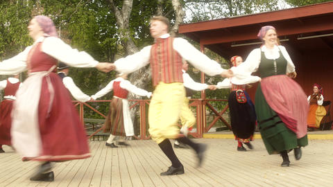Costumed Dancers in Swedish Folk Dance Footage