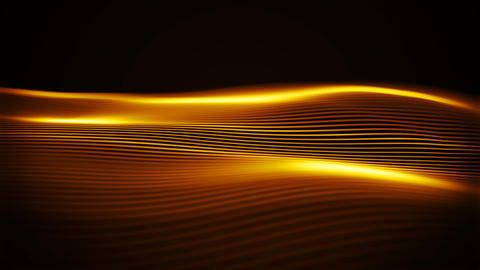 Golden luxury flow. Abstract shiny waves in a cyber space with depth of field. Animation