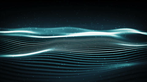 Abstract digital wave with particles in a cyber space. Futuristic wavy surface. Animation