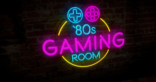 Retro gaming neon Stock Video Footage