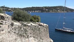 France Cote d'Azur Villefranche sur Mer old protective wall and sailing yacht 영상물