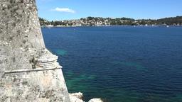 France Cote d'Azur Villefranche sur Mer part of old city wall & the blue sea Footage