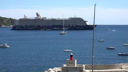 France Cote d'Azur Villefranche sur Mer TUI cruise vessel at safe anchorage Footage