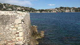 France Cote d'Azur Villefranche sur Mer projection of the city wall & blue sea GIF