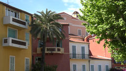 France Cote d'Azur Villefranche sur Mer colorful homes in old town Footage