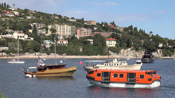 France Cote d'Azur Villefranche sur Mer excursion boats at anchor in the bay Footage